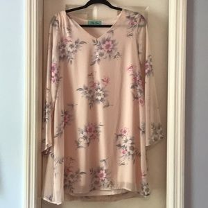 Floral peach mini dress